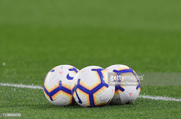 The new Serie A balls on the San Paolo Stadium pitch before the Serie A match between SSC Napoli and Juventus at Stadio San Paolo on March 3 2019 in...