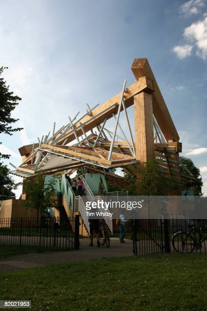 The new Serpentine Gallery Pavillion designed by architect Frank Gehry stands during a Private View on July 21 2008 in Hyde Park London England