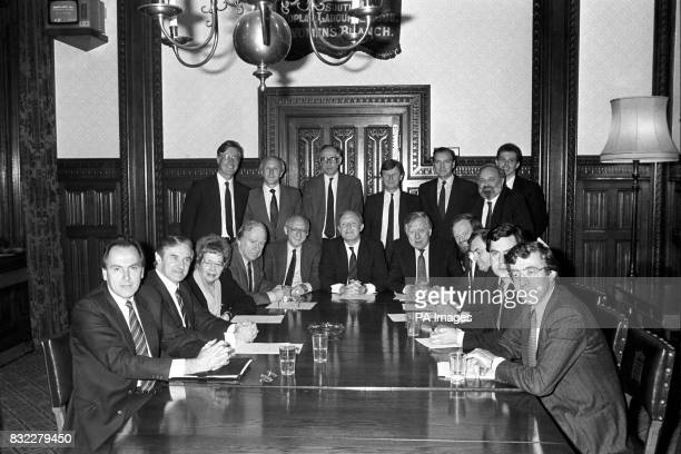 The new Shadow Cabinet in the Shadow Cabinet Room at the House of Commons From left Back row Michael Meacher Dr David Clarke Donald Dewar Bryan Gould...