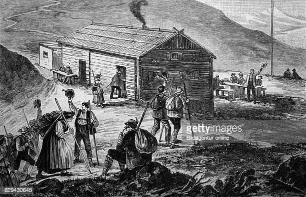 The new shelter on untersberg mountain in the bavarian alps germany historical illustration circa 1886