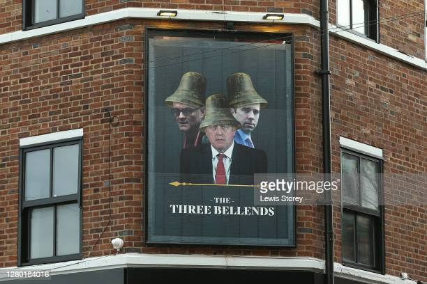 The new sign for the 'The James Atherton' pub, after owner Daniel Davies, changed the name to 'The Three Bellends' on October 14, 2020 in Liverpool,...