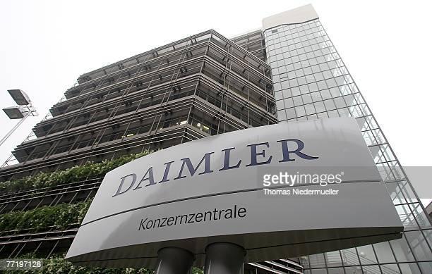 The new sign of the Daimler AG is seen at the corporate headquarter on October 5 2007 in Stuttgart Germany Daimler Chrysler sold Chrysler to Cerberus...