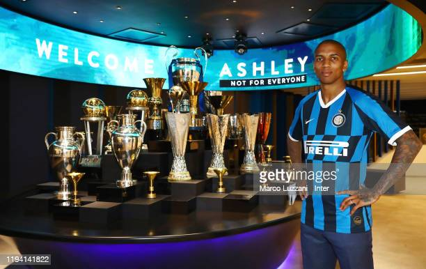 The new signing of FC Internazionale Milano Ashley Young poses with the team jersey on January 17, 2020 in Milan, Italy.