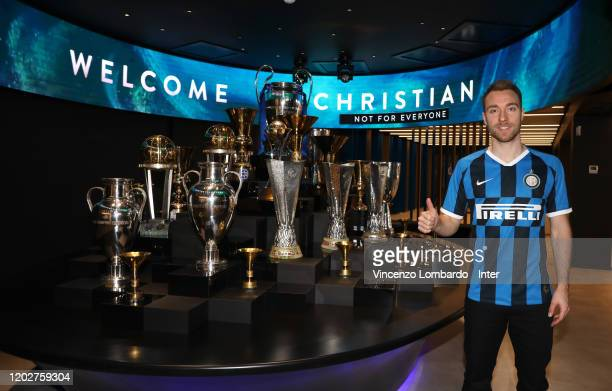 The new signing of FC Internazionale Milano Christian Eriksen poses with the team jersey on January 28, 2020 in Milan, Italy.