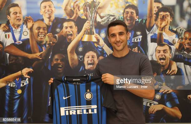 The new signing of FC Internazionale Milano Matias Vecino poses at FC Internazionale headquarters on August 1 2017 in Milan Italy