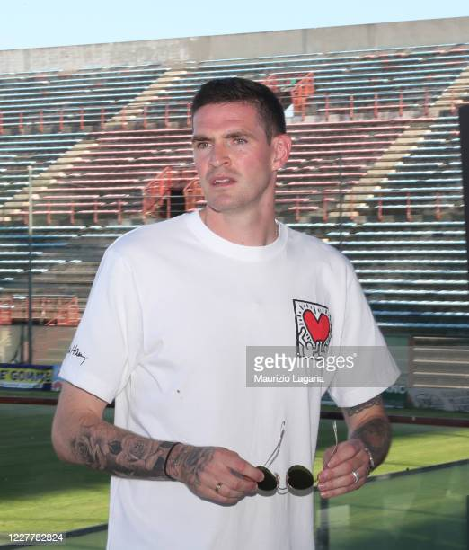 The new signing of Reggina Calcio Kyle Lafferty attends a press conference at Stadio Oreste Granillo on July 25 2020 in Reggio Calabria Italy
