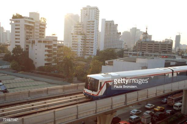 The new 'sky train' helps alleviate traffic congestion February 2000 in the bustling city of Bangkok Thailand The train was completed in December...