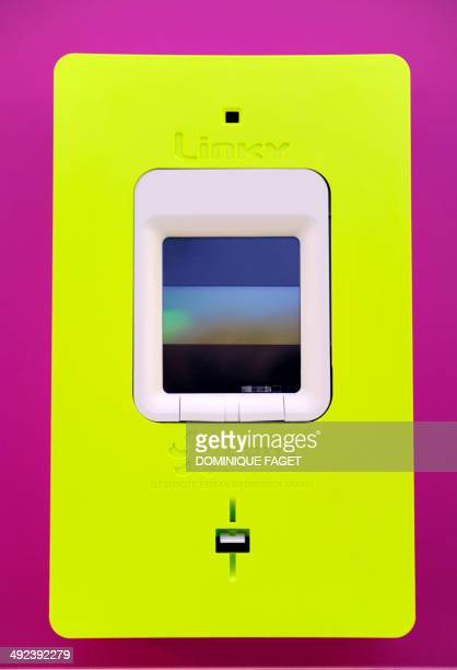 the new 'smart' electric meter 'Linky' is pictured during its official presentation at the new showroom of ERDF on May 20 2014 in Paris AFP PHOTO /...