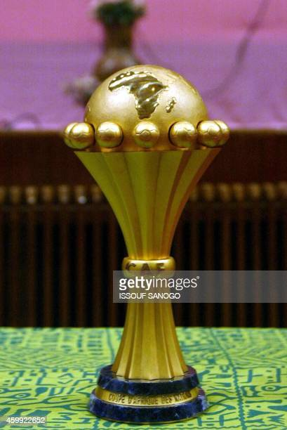 The new soccer African Nations Cup trophy is presented to the press by the African Soccer Confederation 17 January 2002 in Bamako The CAN 2002 will...