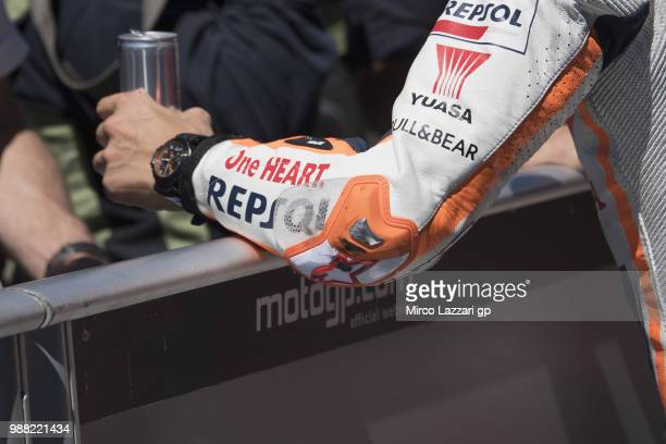 The new solution on the leather of the elbow of Marc Marquez of Spain and Repsol Honda Team during the Qualifying practice during the MotoGP...