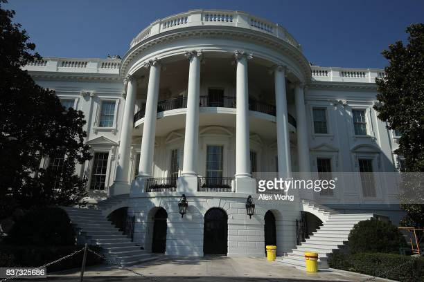 The new South Portico steps of the White House are seen August 22 2017 in Washington DC The White House has undergone a major renovation with an...