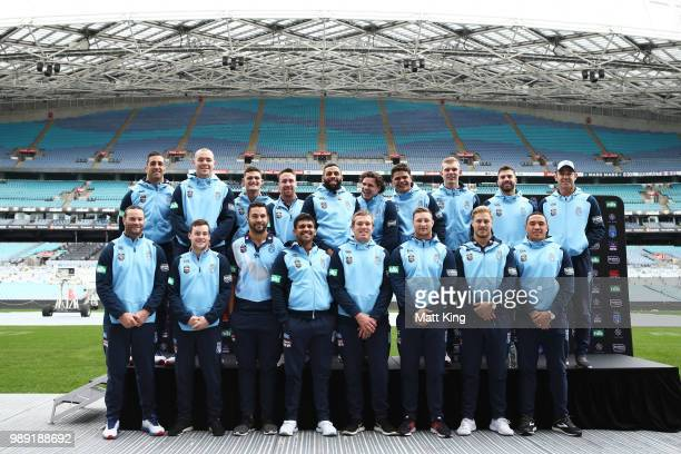 The New South Wales Blues line up during the New South Wales Blues State of Origin Team Announcement at ANZ Stadium on July 2 2018 in Sydney Australia