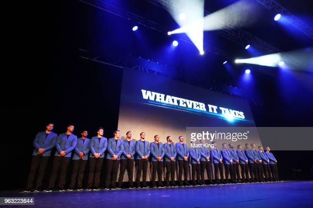 The New South Wales Blues line up on stage during the New South Wales Blues State of Origin Team Announcement at The Star on May 28 2018 in Sydney...