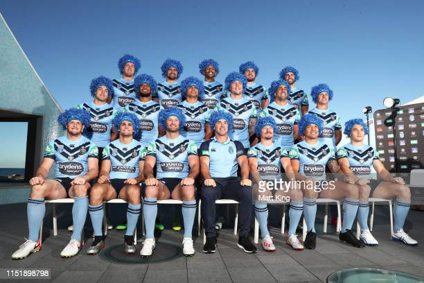 The New South Wales Blues pose for a team photo during a New South Wales Blues State of Origin media opportunity at North Bondi Surf Club on May 27,...