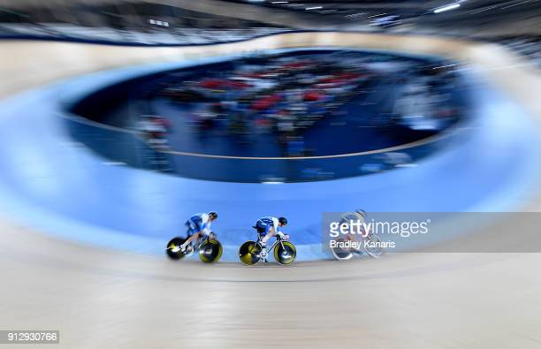 The New South Wales Men's Sprint Team race during the 2018 Australian Track National Championships at Anna Meares Velodrome on February 1 2018 in...