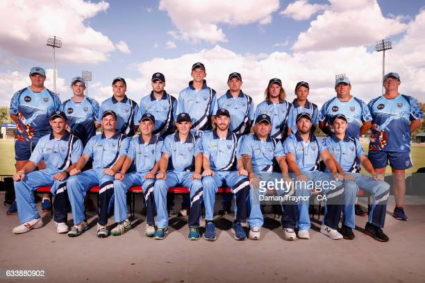 The New South Wales Mens team pose for photo before the National Indigenous Cricket Championships start on February 6 2017 in Alice Springs Australia