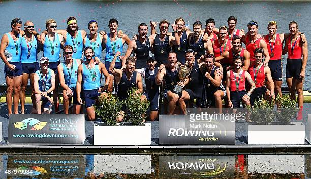 The New South Wales Victorian and South Australian crews pose for photos after the medal ceremony for the Mens Eight during the Sydney International...