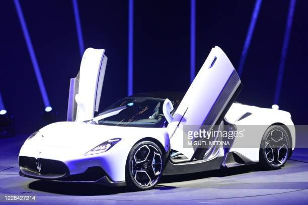 The new sports car of Italian luxury vehicle manufacturer Maserati, the Maserati MC20 is presented on September 9, 2020 at the Modena racetrack.