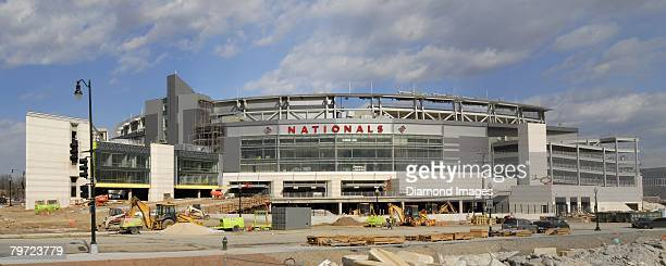 The new stadium for the Washington Nationals named Nationals Park is under construction on February 10 2008 in Washington DC
