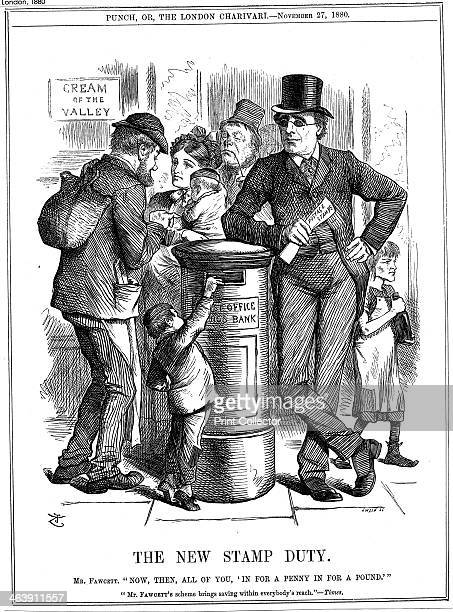 'The New Stamp Duty' 1880 Cartoon concerning the introduction by the Postmaster General Henry Fawcett of the Post Office Savings Bank penny stamp...