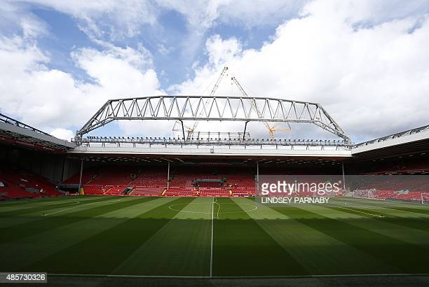 The new stand is seen under construction at the Anfield Stadium ahead of the English Premier League football match between Liverpool and West Ham at...