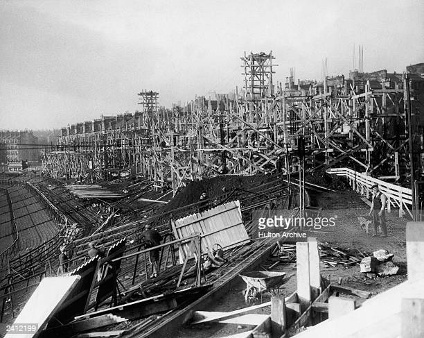 The new stand under construction at Hampden Park football stadium, Glasgow, Scotland 25th January 1934.