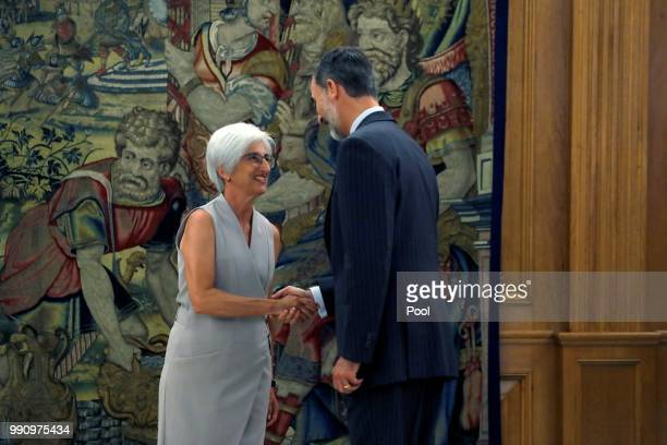 The new State Attorney General Maria Jose Segarra with King Felipe VI during a swearing in ceremony at the Palacio de la Zarzuela on July 3 2018 in...