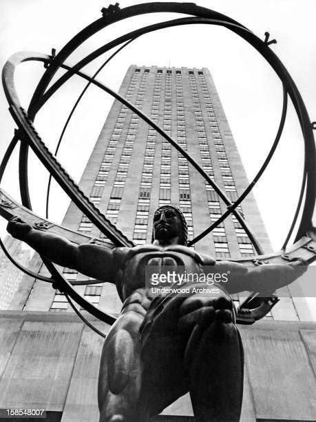 The new statue of Atlas stands complete in the forecourt of the International Building in Rockefeller Center, New York, New York, January 25, 1937....