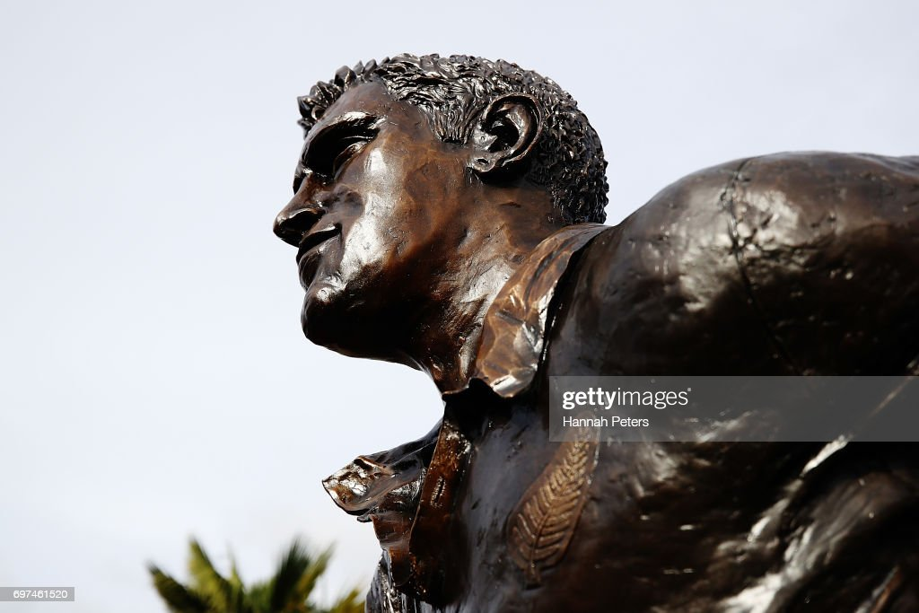 The new statue of former All Blacks player Sir Colin Meads is seen on June 19, 2017 in Te Kuiti, New Zealand. The 1.5 x life size bronze sculpture has been designed and made by Auckland artist Natalie Stamilla.