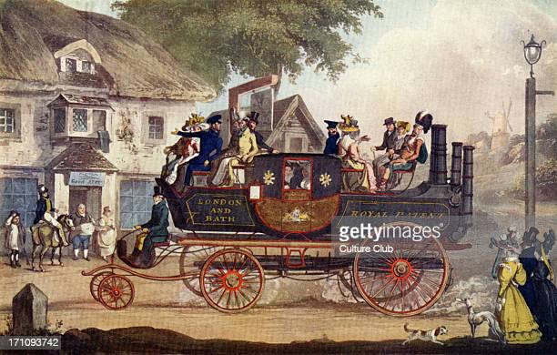 English scene showing one of first mid19th century steam carriages with passengers Pub in background Industrial revolution engine industrialisation...