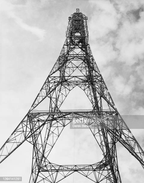 The new steel lattice BBC television transmission mast in Crystal Palace south London Engand 19th September 1956 Measuring 440feet tall it is planned...