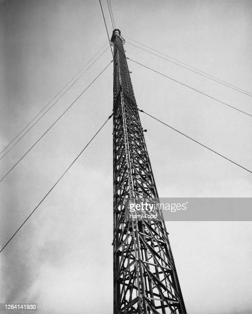 The new steel lattice mast at the BBC television transmission station in Sutton Coldfield Birmingham England 14th December 1949 Measuring 750feet...