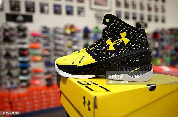 The new Stephen Curry Under Armour basketball shoe is displayed at T & B Sports on October 22, 2015 in San Rafael, California. Under Armour Inc....