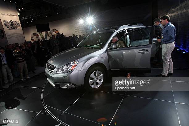 The new Subaru 2010 Outback is debuted during the press preview for the New York Auto Show April 9 2009 in New York City Beginning Friday over 1...