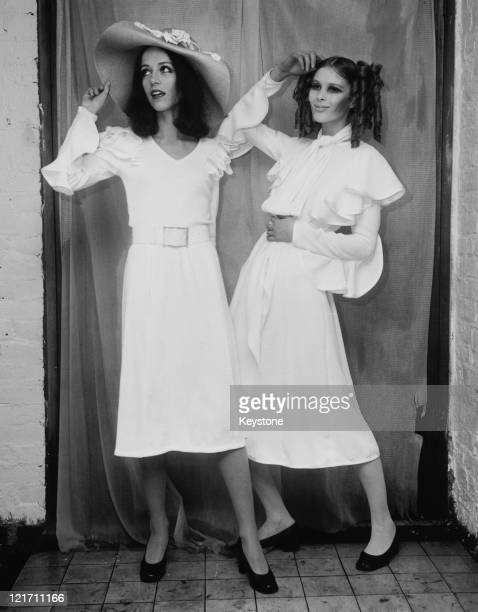 The new summer collection from Ossie Clark on show in London 18th January 1968 Model Annie Fielding wears 'Mopsy' a white ribbed cotton dress and Aya...
