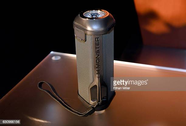 The new SuperStar FireCracker portable Bluetooth speaker by Monster is displayed during a press event for CES 2017 at the Mandalay Bay Convention...