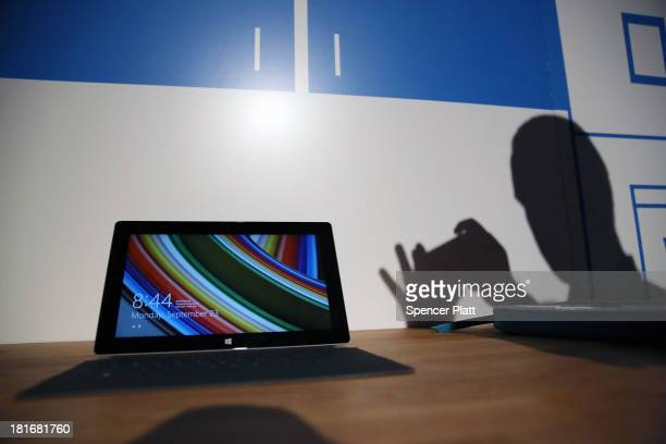 The new Surface 2 tablet is viewed part of the new lineup of second generation Surface tablets on September 23 2013 in New York CityThe new Surface...