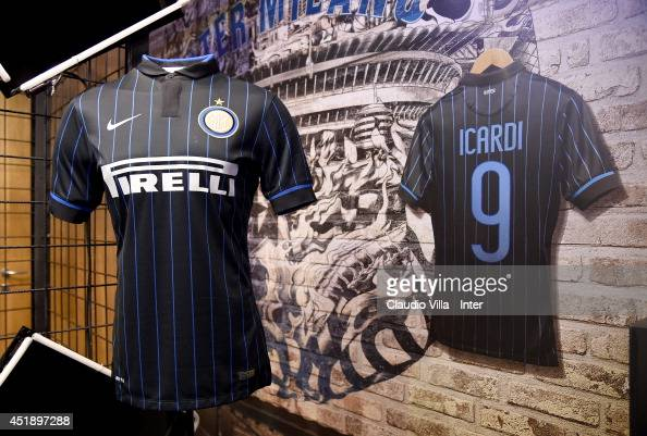 hot sale online 69894 73602 The new team kit is seen at Solo Inter store on July 8, 2014 ...