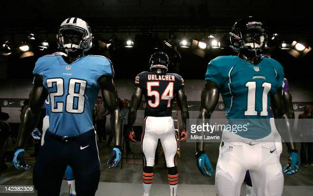 The new Tennessee Titans Chicago Bears and Jacksonville Jaguars jerseys are displayed during the unveiling by Nike as they begin their partnership...