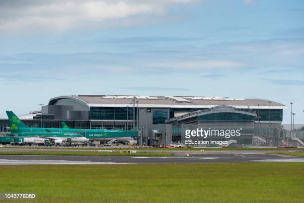 The new Terminal 2 T2 at Dublin Airport with Aer Lingus aircraft docked outside