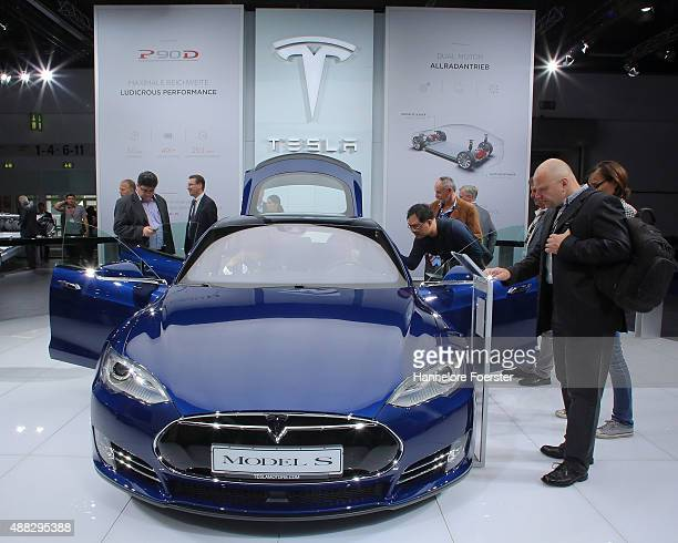 The new Tesla Model S is displayed at the Tesla stand at the 2015 IAA Frankfurt Auto Show during a press day on September 15 2015 in Frankfurt...