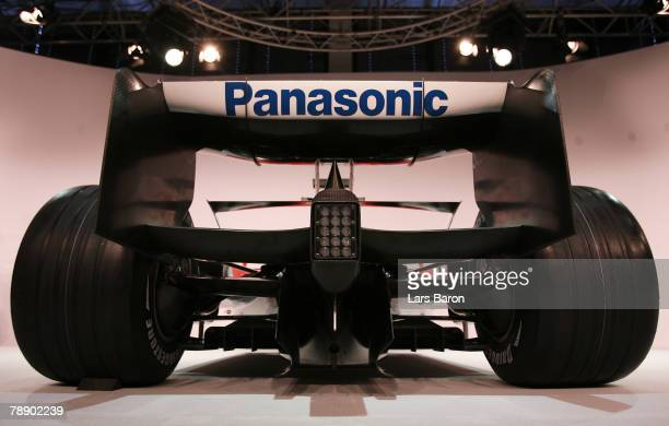 The new TF108 is seen during the Panasonic Toyota Formula One Grand Prix team launch of the TF108 race car for the 2008 season at the Toyota...