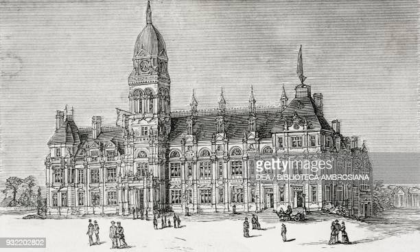 The new Town Hall of which the memorial stone was laid on October 9 by Lord Edward Cavendish Eastbourne United Kingdom illustration from the magazine...
