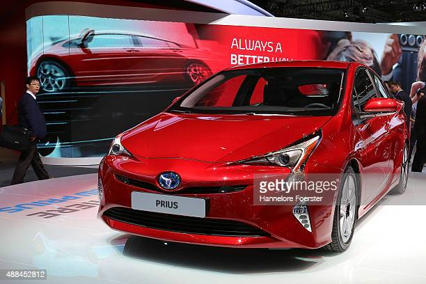 The new Toyota Prius stands at the Toyota stand at the 2015 IAA Frankfurt Auto Show during a press day on September 16 2015 in Frankfurt Germany The...