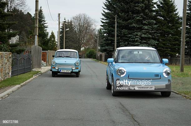 The new Trabant nT and an original historical Trabant from 1957 are pictured on November 12 2009 in WilkauHasslau near Zwickau Germany Auto body...