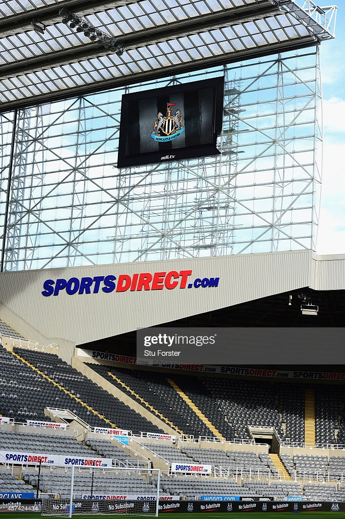 The new TV Screen (bottom right) flaps in the wind delaying the opening of the turnstilles before the Barclays Premier League match between Newcastle United and Leicester City at St James' Park on October 18, 2014 in Newcastle upon Tyne, England.