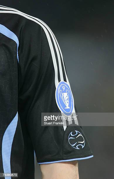 The new UEFA logo on the shirt of Iker Casillas of Madrid during the UEFA Champions League round of 16 first leg match between Real Madrid and Bayern...