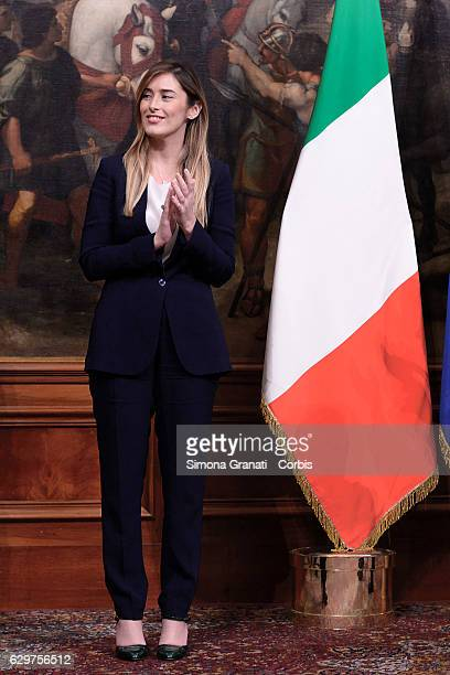 The new undersecretary to the presidency Maria Elena Boschi during the ceremony of succession between outgoing Italian Prime Minister Matteo Renzi...