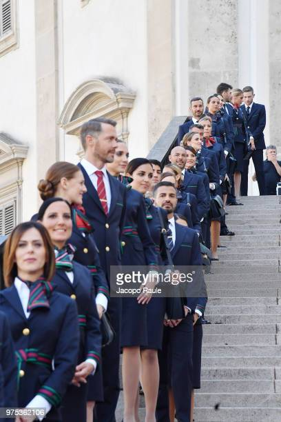 The new uniforms of Alitalia are presented ahead the Alberta Ferretti show during Milan Men's Fashion Week Spring/Summer 2019 on June 15 2018 in...