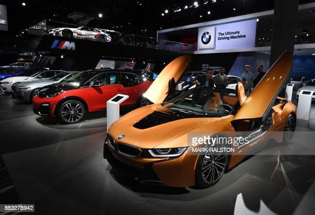 The new updated version of the BMW i8 sports car on is displayed at the 2017 LA Auto Show in Los Angeles California on November 30 which opens to the...